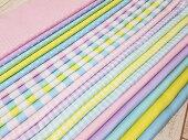 【オックス】バニラポップのパステルドット&チェック&ストライプ&無地綿100%約110cm巾入園入学生地布