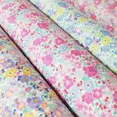 【Wガーゼ】タンブラー加工の小花柄生地布布地ガーゼマスク110cm幅綿100%※50cm単位でカット