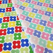 【オックス】おはじき花柄綿100%約110cm巾生地布※50cm単位でカット
