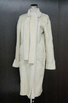 CHANEL 04A Mouton Long Coat Size 40 Light Beige P24284