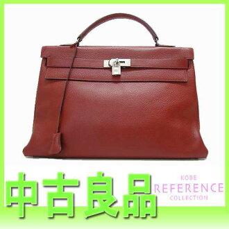 HERMES Hermes Kelly 40 handbag in sewing fjord Rouge ash Matt silver metal D time used