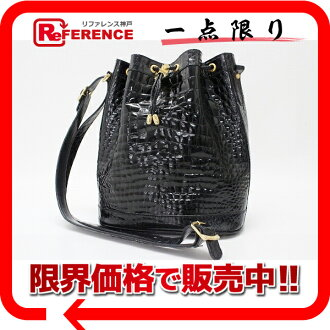 Crocodile-like model push enamel drawstring purse bag black 》 fs3gm 02P05Apr14M for 《