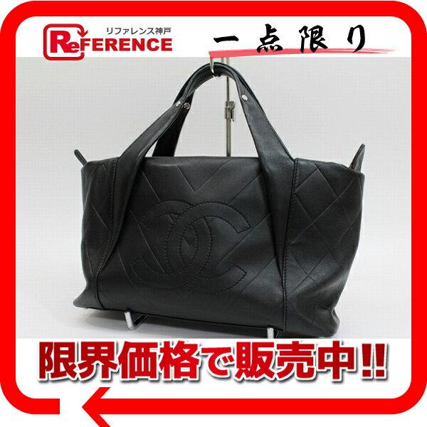 CHANEL シャネル シェブロン カーフスキン トートバッグ ブラック 【中古】:ブランドショップ リファレンス