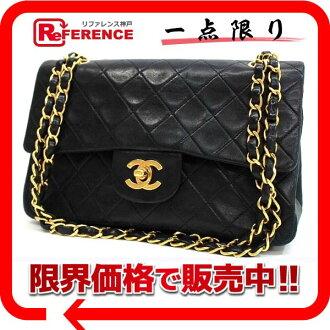"Chanel lambskin matelasse 23 W chain shoulder black black gold metal ""support."""
