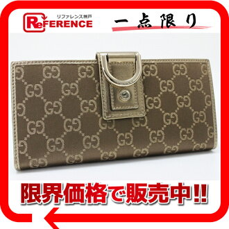 Gucci NEW ABBEY( new Abie) satin GG two fold long wallet gold X brown 141412 like-new 》 fs3gm 02P05Apr14M for 《
