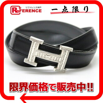 """Hermes Tuareg mini H belt reversible box 75 Cafe black x grey Silver 925 B ticking """"response."""""""