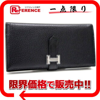 HERMES Hermes beans fre gusset two bi-fold wallet sherburcolomandel black silver metal N ever-0601 Rakuten card split unused