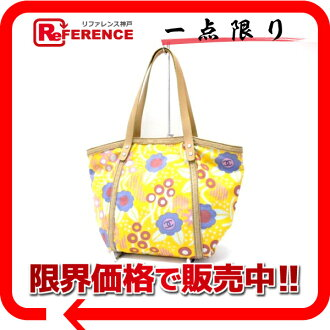 CHANEL flower canvas tote bag yellow 》 fs3gm for 《