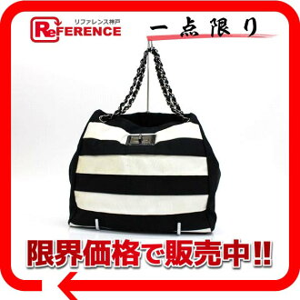 "Chanel 2.55 canvas border チェーントート bag black x white s correspondence.""fs3gm"