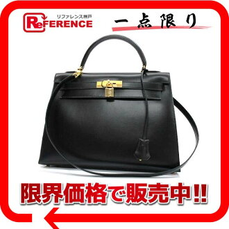 "As well as shoulder straps Bock scarf black gold hardware brand new Hermes handbags ""Kelly 32"" outside ""support"" 02P05Apr14M"