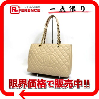 CHANEL Chanel caviar skin CC matelasse quilted chain that bag beige