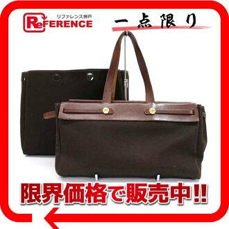 HERMES Hermes airbag coves GM replacement bag tote bag toil Office air dark brown gold bracket F ever-changing pre-owned