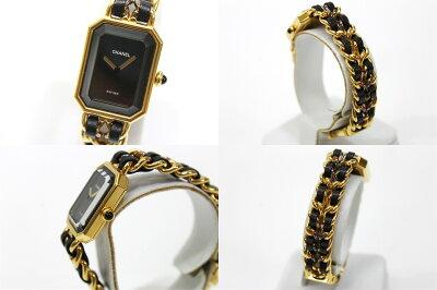 【CHANEL】シャネルプルミエールレディース腕時計Lゴールド×ブラック【中古】【楽ギフ_包装】《あす楽対応》【送料無料】