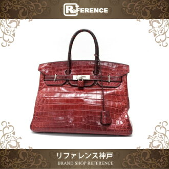 "Fs3gm Premier handbag Hermes ""Birkin 35"" クロコダイルニロティカス Matt ルージュアッシュ Matt silver metal fittings G ticking 2003 manufacturing ""support."""