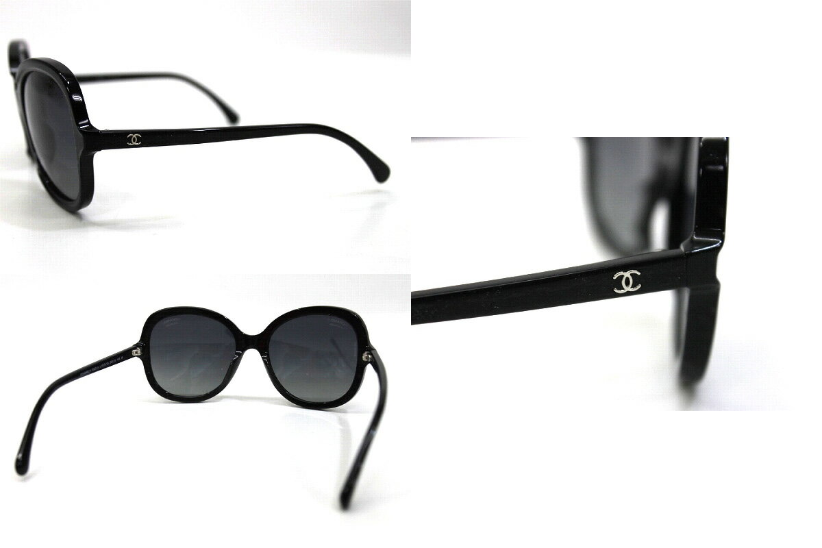 90680a1492a AUTHENTIC CHANEL Square Shaped CC Sunglasses Shades Black 5320-A