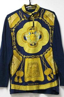 赫耳墨斯赫耳墨斯婦女絲綢 x 針織長袖上衣 S 海軍系統 KK 0601 樂天卡司