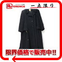 HERMES エルメス カシミヤ レディース ロングコート 40 ブラック 【中古】 KK