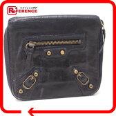BALENCIAGA バレンシアガ 156537 ラウンドファスナー財布 二つ折り財布(小銭入れあり) シープスキン ネイビー レディース【中古】