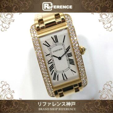 CARTIER カルティエ メンズ腕時計 サイドベゼルダイヤ タンクアメリカン LM 腕時計 K18YG イエローゴールド メンズ 新品同様【中古】