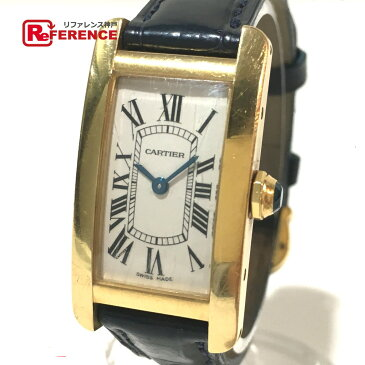 CARTIER カルティエ W2601556 レディース腕時計 タンクアメリカン K18無垢 腕時計 K18YG/革ベルト イエローゴールド レディース【中古】