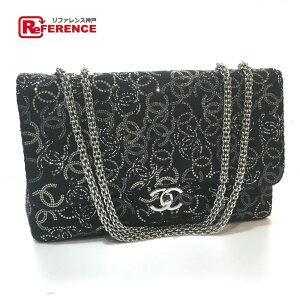 CHANEL Chanel A48872 W Chain Paris Shanghai Modelo CC Coco Mark Bolso de hombro Rhinestone / Fabric Black Ladies [Usado]