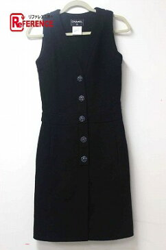CHANEL シャネル 15C ノースリーブワンピース ドレス ツイード ブラック レディース【中古】