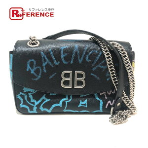 BALENCIAGA 516921 Graffiti Chain Shoulder Bag BB ROUND M GRAFFITI Shoulder Bag Leather Black Ladies Like New [Used]