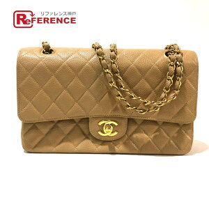 Chanel Chanel डब्ल्यू फ्लैप डब्ल्यू चैन शोल्डर बैग मैट्रस 25 शोल्डर बैग कैवियार स्किन बेज एक्स गोल्ड हार्डवेयर लेडीज []