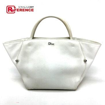 Christian Dior クリスチャンディオール トートバッグ ハンドバッグ レザー ホワイト レディース【中古】