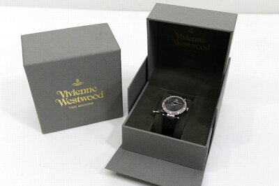 VivienneWestwoodヴィヴィアンウエストウッドオーブチャームラインストーンベゼルレディース腕時計SS×レザーベルトクォーツVV006GYBK【】KK