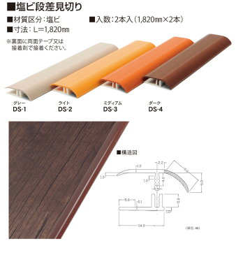 DECOSELFデコセルフ用見切り/塩ビ段差見切り/寸法:L=1820mm/1820mm×2本/4色