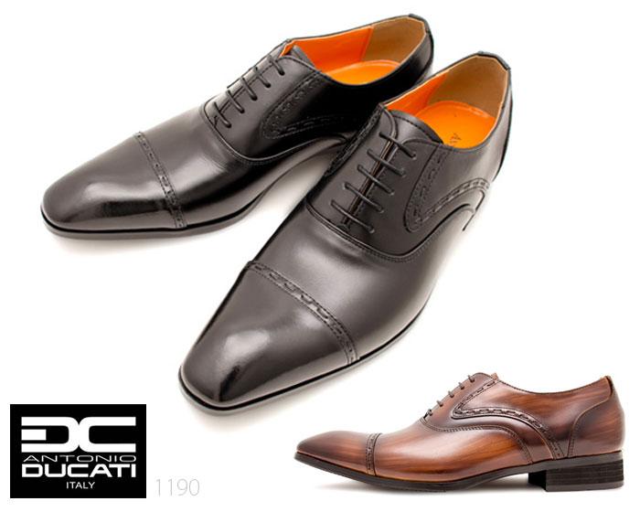 アントニオドゥカティ DC1190 メンズビジネスシューズ ANTONIO DUCATI ブラック ダークブラウン 内羽根 ストレートチップ 本革 3E 靴画像