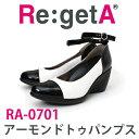 【 RA-0701】【 リゲッタ アーモンドトゥーパンプス バイカラー 】Re:getA RegettaCanoe 靴 コンフォートシューズ 痛くない 履きやすい..