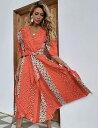 パフスリーブ パッチワーク ビーチドレス カバーアップ リゾートドレス 速乾 即納 オレンジ 花柄 ボリューム袖 パワースリーブ ビーチウェア ロングワンピース