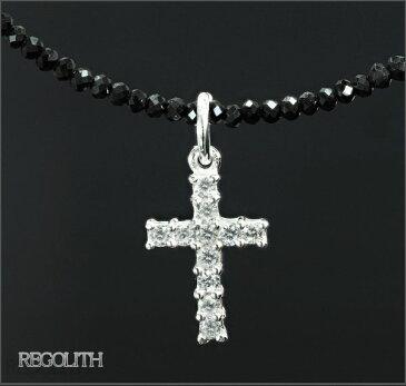 ブラックスピネル ネックレス メンズネックレス クロスネックレス 十字架 ネックレス シルバー ネックレス