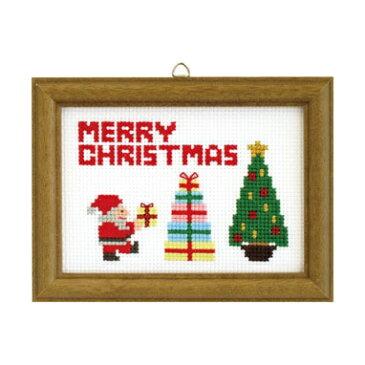【取寄せ品】【刺しゅうキット】クロスステッチ刺繍♪ラメ糸輝くクリスマスステッチシリーズ「サンタ&ツリー」(木製額付13×17cm)/初級〜中級者向