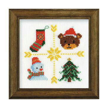 【取寄せ品】【刺しゅうキット】クロスステッチ刺繍♪ラメ糸輝くクリスマスステッチシリーズ「ツリー」(木製額付14cm)/初級〜中級者向