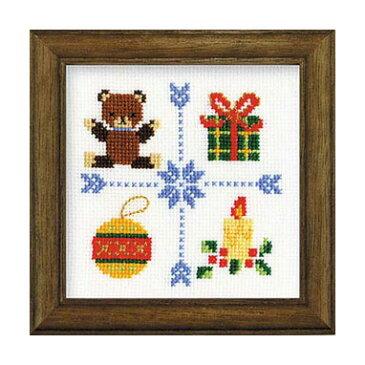 【取寄せ品】【刺しゅうキット】クロスステッチ刺繍♪ラメ糸輝くクリスマスステッチシリーズ「キャンドル」(木製額付14cm)/初級〜中級者向