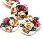 貝ビーズ天然素材5個入【ビーズ】シェルビーズ♪(花柄)ビーズ教室ワークショップ材料(5個入)/30mm