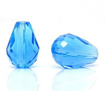 5個【ガラスビーズ】(ティアドロップ型)クリアブルーカラー ビーズワーク手作りアクセサリーに♪手芸ガラス玉/(5個入)11mm×8mm