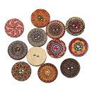 ●取寄品●木のボタン(大口1000個パック)【ウッドボタン】(エスニックプリント)アジアン雑貨のパーツにも♪20mm/ミックスアソート1000個入