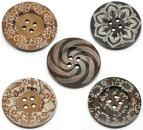 ビッグ!【でかボタン】プリントウッドボタン5個木製ボタン/5デザイン×1個づづ=計5個入(60mm)大きいサイズ