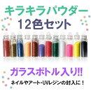 【キラキラパウダー】12色セット(ガラス小瓶入り)ラメパウダー/ボトルサイズ40mm×11mm
