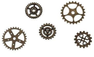 ●少量取寄品●【メタルチャーム】(50個) [ギア歯車MIX] /デザインチャーム/ネックレスピアスペンダントパーツ資材屋/17mm〜25mm