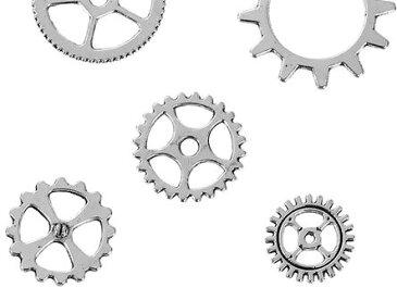 ●少量取寄品●【メタルチャーム】(100個) [ギア歯車MIX] /デザインチャーム/ネックレスピアスペンダントパーツ資材屋/12mm〜20mm