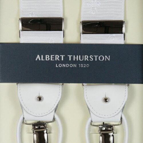 ALBERT THURSTON アルバートサーストン サスペンダー メンズ Y型 2WAY リボン(伸縮性なし) 白 クレスト柄 ホワイト 【英国製】 サーストン ブランド アルバート・サーストン ブレイシーズ 1267-WHITE【送料無料】【楽ギフ_包装】