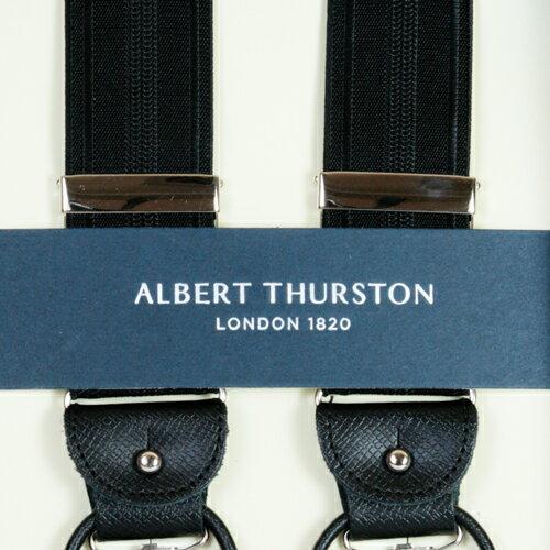 ALBERT THURSTON アルバートサーストン サスペンダーY型 黒xシャドーストラ...