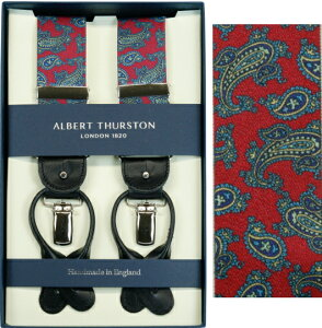 ALBERT THURSTON アルバートサーストン サスペンダー メンズ Y型 2WAY レッド エンジ ペイズリープリント柄【英国製】 サーストン ブランド アルバート・サーストン 2560-P002 【送料無料】【楽ギフ_包装】