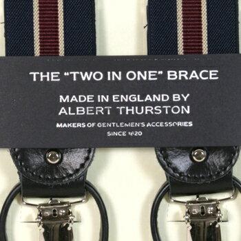 ALBERT THURSTON アルバートサーストン サスペンダー メンズ Y型 2WAY 紺×エンジ×ベージュ スト...