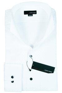 イタリアンカラーシャツ メンズ   スタンドカラー シャツ COSTA VARIO 長袖 白 ホワイト 綿100 ミニブロック 織柄 日本製 ワイシャツ ビジネス 襟 イタリアンカラー ドレスシャツ ノータイ ノーネクタイ おしゃれ 色 柄 着こなし コーデ おすすめ 通販 uwd004-201